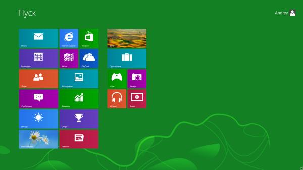 Плиточный интерфейс Metro Modern UI в Windows 8 вместо привычного меню Пуск